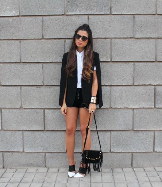 jacket white shirt black blazer black shorts black and white heels gold bracelet blogger fringe handbag
