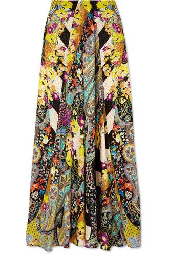 skirt maxi skirt maxi jacquard silk yellow