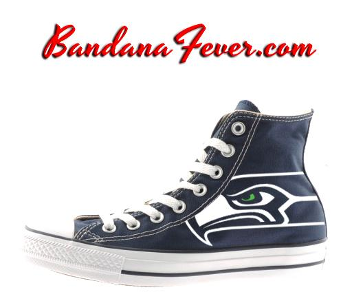 398aa4bd4db92e Custom Seahawks Converse Shoes Hi Navy