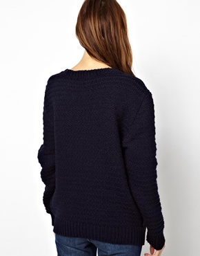 Les Prairies de Paris | Les Prairies de Paris Relaxed Knit with Split Shoulder and Pockets at ASOS