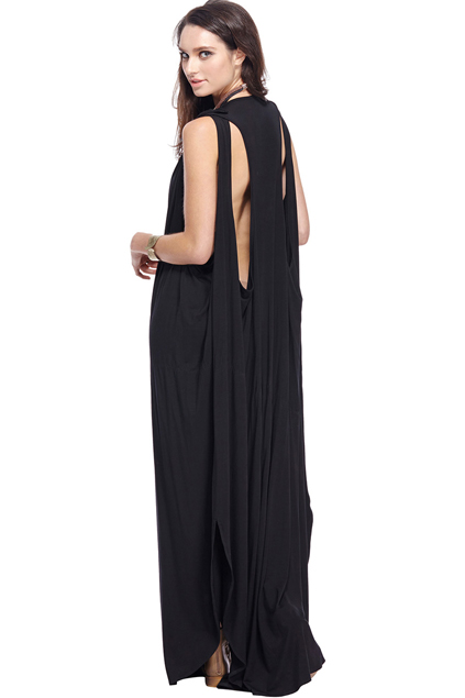 ROMWE | ROMWE Black Goddess Maxi Dress, The Latest Street Fashion
