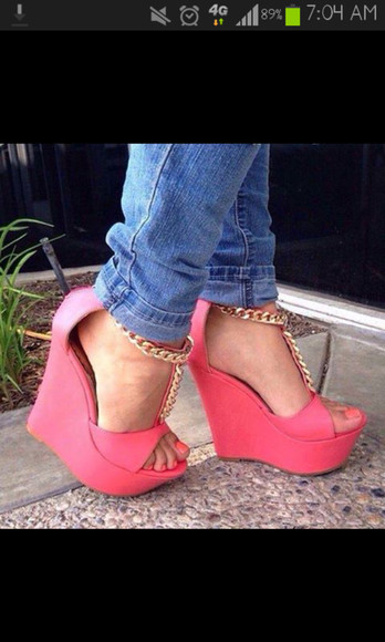gold chain shoes pink wedges
