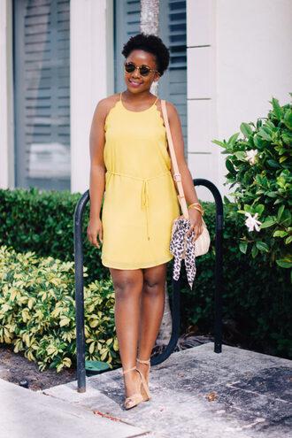 pinksole blogger sunglasses jewels dress shoes bag yellow dress shoulder bag sandals high heel sandals summer outfits