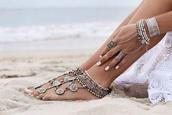 jewels,boho jewelry,anklet,silver,girl,beach wedding,boho,indie