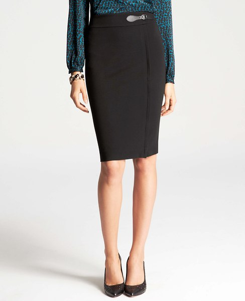 Ponte Zip Front Skirt | Ann Taylor