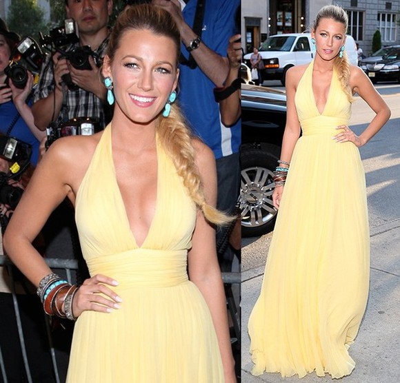 blake lively dress prom dress yellow dress maxi dress