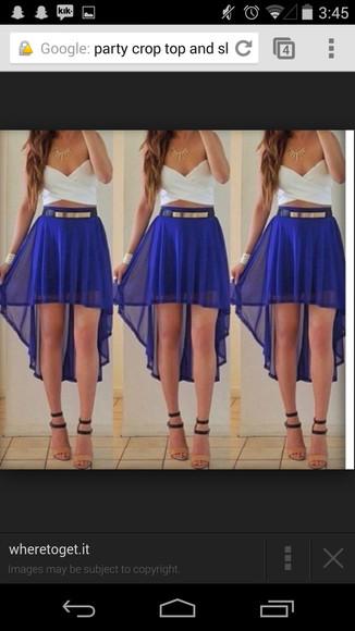 skirt blue skirt gold belt