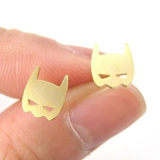 jewels cherry diva batman earrings stud earrings gold earrings superheroes jewelry halloween