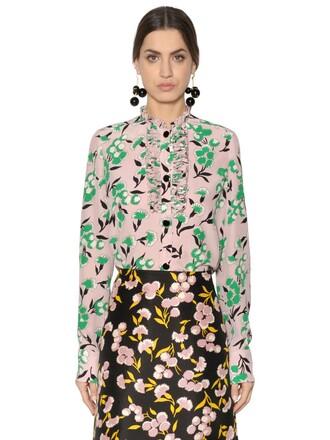 shirt floral silk pink top