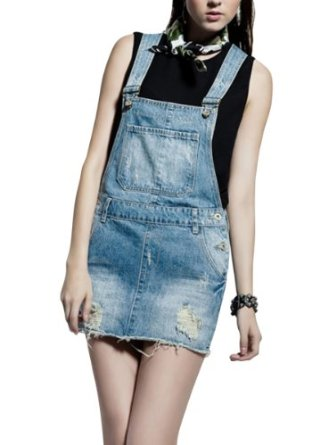 Amazon.com: UPER FEET Women's Washed Denim Blue Overall Dress Mini Jean Skirt with Rips: Clothing