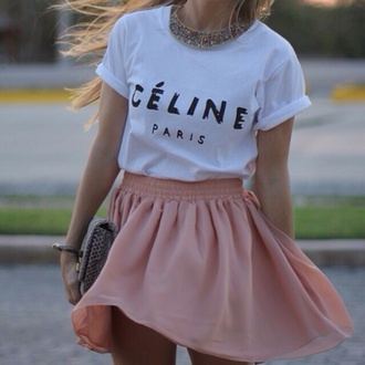 skirt pink clothes t-shirt blouse style fashion shirt crop tops white t-shirt white top white crop tops white shirt pink skirt celine paris shirt