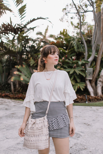 skirt tumblr gingham gingham skirt mini skirt top white top ruffle
