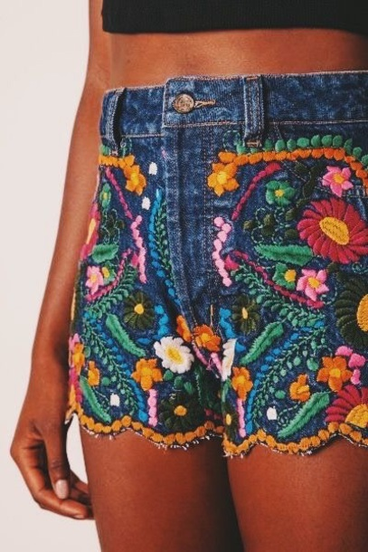 shorts embroidered denim shorts