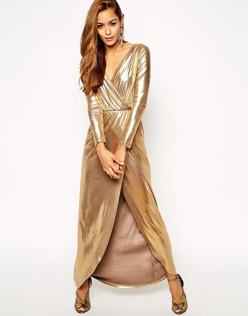 ASOS Sexy Gold Wrap Maxi Dress at asos.com