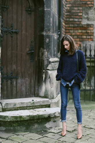 venka vision blogger navy knitted sweater oversized sweater skinny jeans