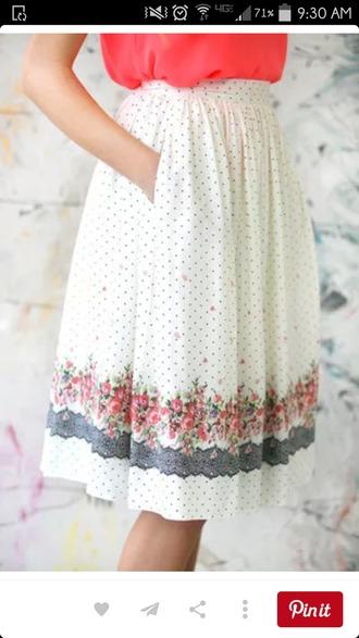 skirt white cute summer long pretty polka dots details