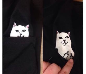 cat middle finger pocket t-shirt black funny