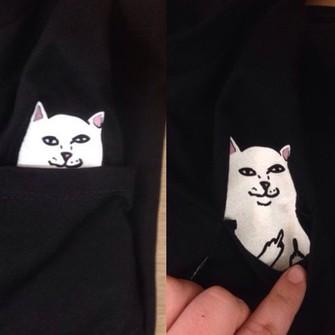 middle finger black funny cat pocket t-shirt the middle
