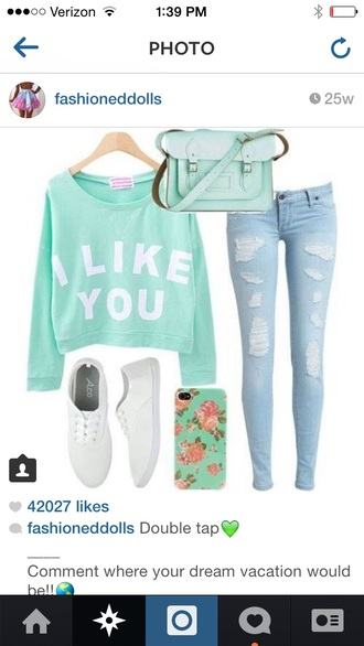 sweater weather bag teal bag jeans