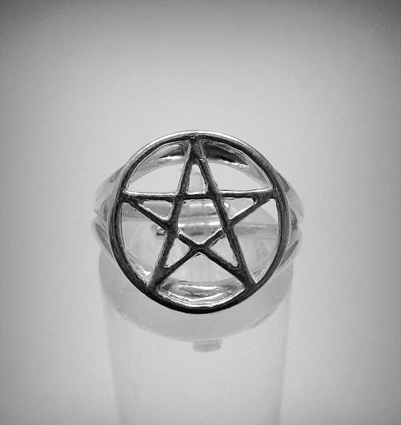 R001239 sterling silver ring solid 925 pentagram by empresssilver