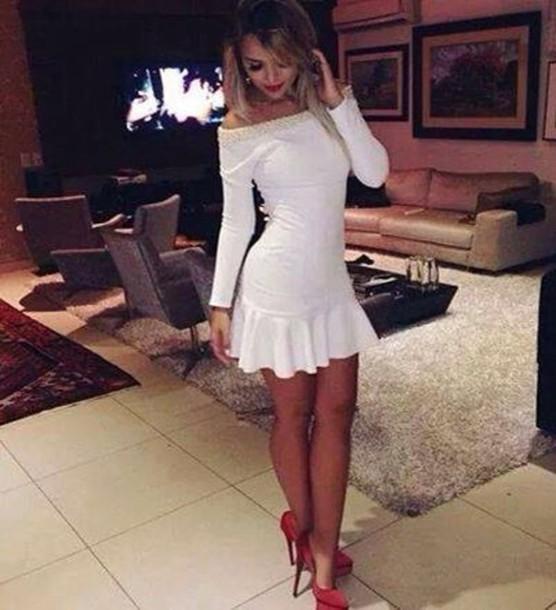 dress mini dress red high heels white dress shoes