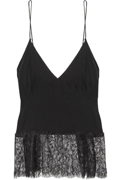 Trimmed crepe camisole