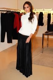 skirt,victoria beckham,maxi skirt,turtleneck,top,blouse