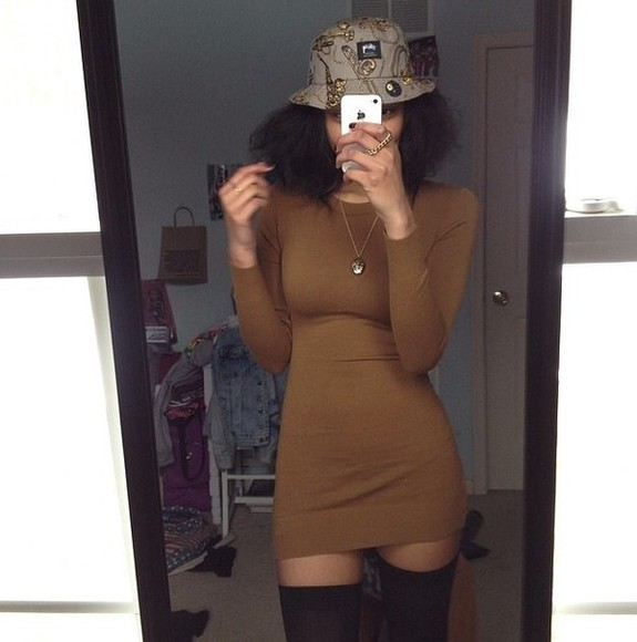 sweater mini dress brown dress