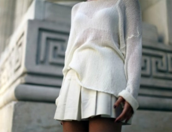 white skirt sweater white sweater little skirt all white
