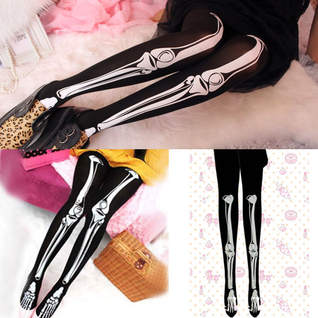 Punk skeleton white bone tattoo socks pantyhose stocking tights leggings pants