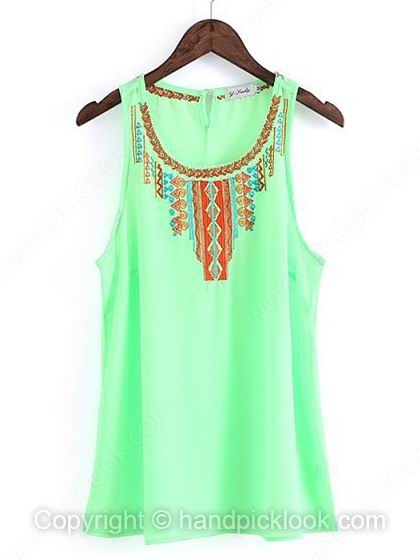 Green Straps Sleeveless Embroidery Chiffon Vest - HandpickLook.com