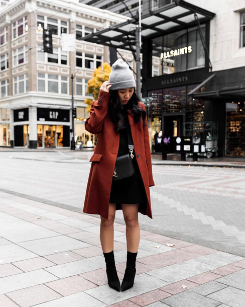 coat tumblr brown brown coat dress mini dress black dress boots black boots ankle boots grey beanie beanie bag