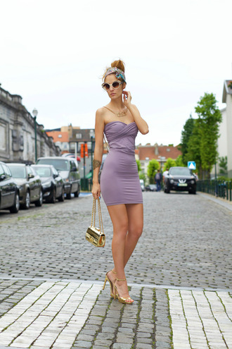 from brussels with love blogger dress sunglasses draped bodycon dress lilac lilac dress bustier dress gold sandals