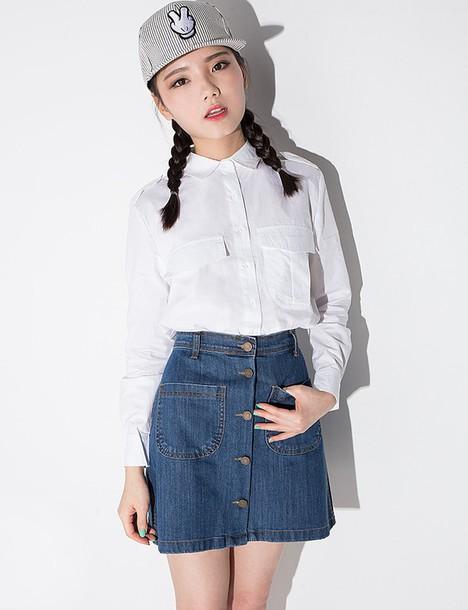 Skirt A Line Skirt Denim Skirt Button Down Skirt Denim Button Down Skirt Mini Skirt Korean