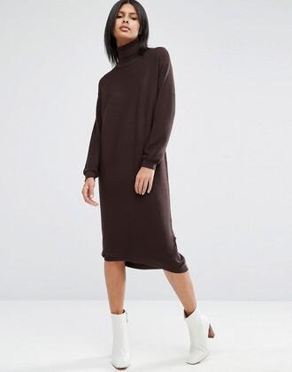 dress knit midi dress clothes turtleneck dress