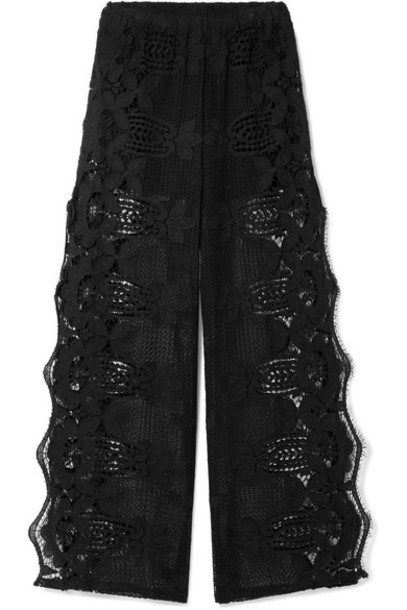 Miguelina pants wide-leg pants lace cotton black