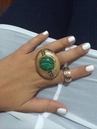 jewels ring emerald green gold rose gold