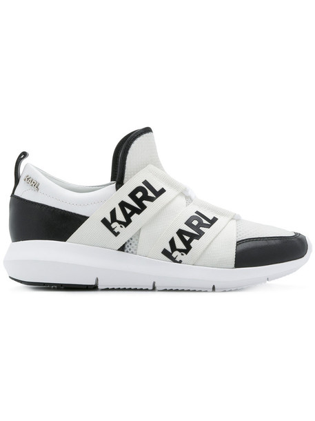 karl lagerfeld women sneakers leather white cotton shoes