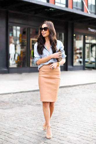 skirt blush skirt pencil skirt peach skirt office outfits shirt denim shirt sunglasses blogger nude sandals sandals preppy fashionista
