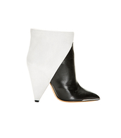 shoes,slick,edgy,arty,black and white,two toned,pointy toed,cone heel,bootie,boots,booties,boot,modern,minimalist,minimalist shoes