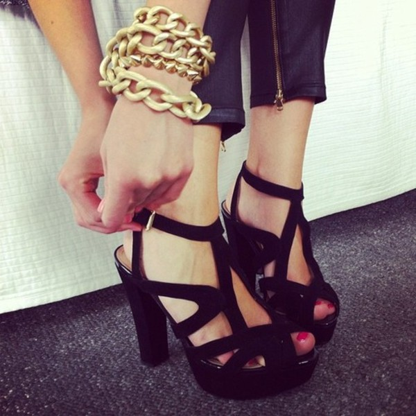 0619494fd595 Gorgeous Zara High Heel Black Platform Sandals Leather Shoes BNWT ...