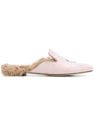 fur women mules leather purple pink shoes