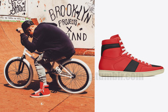 shoes justin bieber yves saint laurent mens shoes sneakers red red sneakers swag swag shoe biker celebrity style high top sneakers urban urban menswear mens high top sneakers