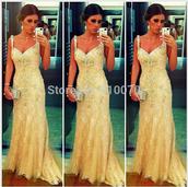 dress,prom dress,evening dress,v-neck prom dress,long prom dress,champange prom dress