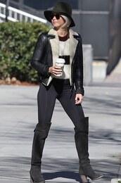 julianne hough,leather jacket,isabel marant,shearling jacket,striped sweater