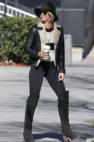 julianne hough leather jacket isabel marant shearling jacket striped sweater