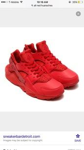 shoes,red,nike,huarache,sneakers,customized nike huaraches,nikeshoe,nike running shoes