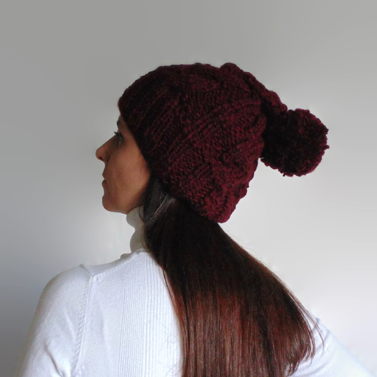 Burgundy Beanie Hat with Pompom Knitted in Soft Wool Blend b3f890d9252