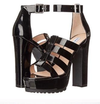 shoes steve madden platform shoes black leather high heels