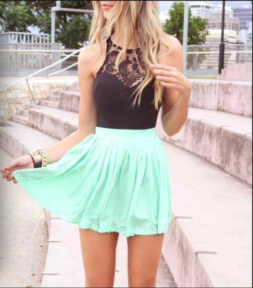 mint skirt summer outfits top black top